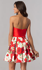 Image of short satin homecoming dress with floral-print skirt. Style: FB-GS2385 Back Image