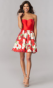 Image of short satin homecoming dress with floral-print skirt. Style: FB-GS2385 Detail Image 1