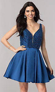 Short Navy Blue Beaded Homecoming Dress with V-Neck