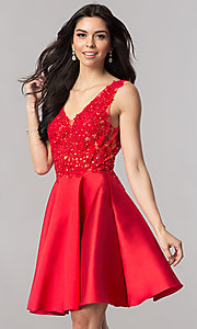 Image of short open-back homecoming party dress with v-neck. Style: FB-GS2387 Front Image