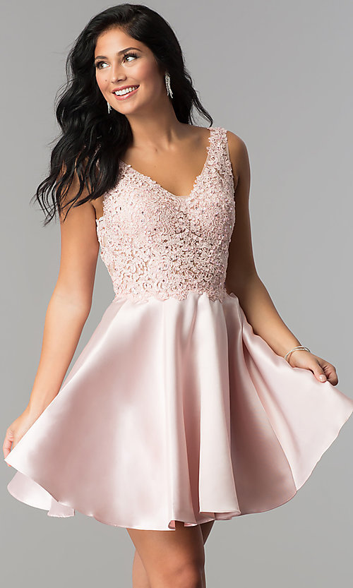 Image of short open-back homecoming party dress with v-neck. Style: FB-GS2387 Detail Image 2