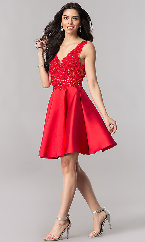 Image of short open-back homecoming party dress with v-neck. Style: FB-GS2387 Detail Image 1