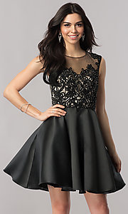 Image of short lace-bodice satin homecoming dress with corset. Style: FB-GS2388 Front Image