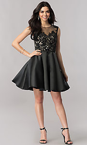 Image of short lace-bodice satin homecoming dress with corset. Style: FB-GS2388 Detail Image 1