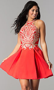 Image of short satin homecoming dress with lace applique. Style: FB-GS2389 Front Image