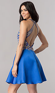 Image of short satin homecoming dress with lace applique. Style: FB-GS2389 Back Image