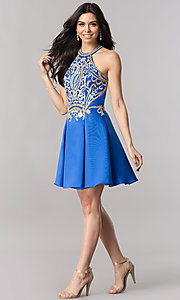 Image of short satin homecoming dress with lace applique. Style: FB-GS2389 Detail Image 3