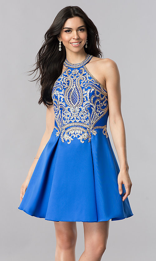 Image of short satin homecoming dress with lace applique. Style: FB-GS2389 Detail Image 2
