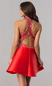 Image of racerback red satin homecoming dress with appliques. Style: FB-GS2390 Back Image