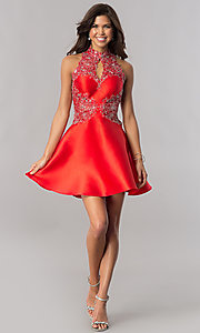 Image of racerback red satin homecoming dress with appliques. Style: FB-GS2390 Detail Image 1