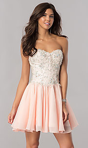Image of strapless corset short homecoming dress in blush pink. Style: FB-GS2391 Front Image