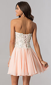 Image of strapless corset short homecoming dress in blush pink. Style: FB-GS2391 Back Image