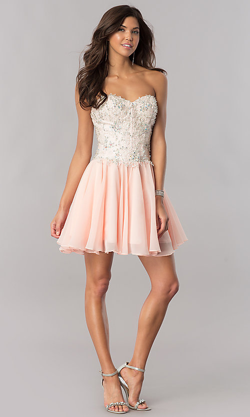 Image of strapless corset short homecoming dress in blush pink. Style: FB-GS2391 Detail Image 1