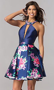 Image of short navy blue homecoming dress with floral print. Style: FB-GS2392 Front Image