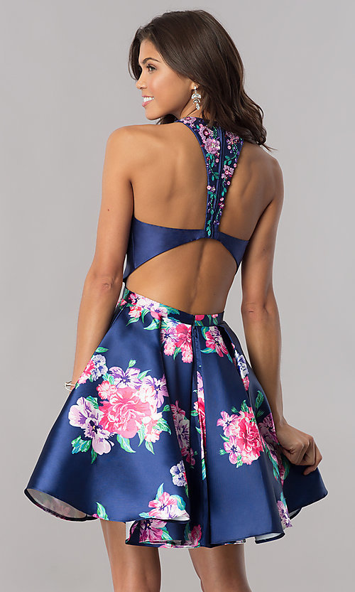 Image of short navy blue homecoming dress with floral print. Style: FB-GS2392 Back Image