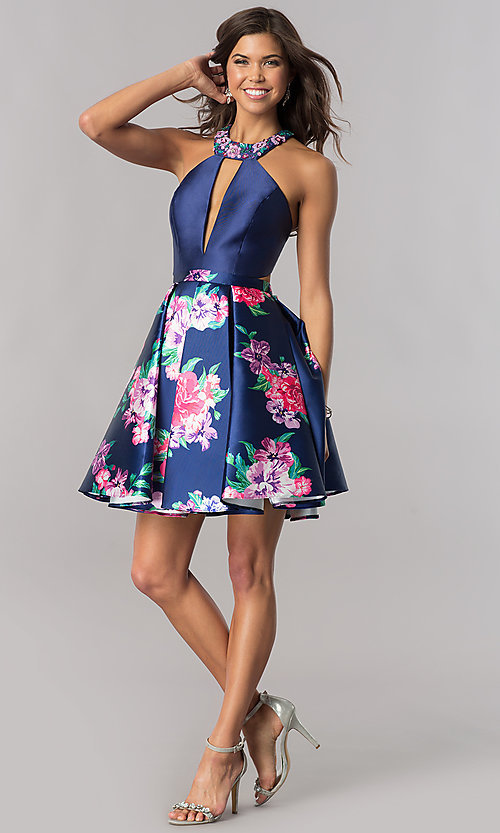 Image of short navy blue homecoming dress with floral print. Style: FB-GS2392 Detail Image 1