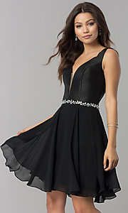 Short Chiffon Homecoming Dress with Satin Bodice