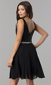 Image of short chiffon homecoming dress with satin bodice. Style: FB-GS2393 Back Image