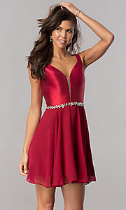 Image of short chiffon homecoming dress with satin bodice. Style: FB-GS2393 Detail Image 1