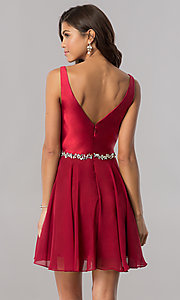 Image of short chiffon homecoming dress with satin bodice. Style: FB-GS2393 Detail Image 3