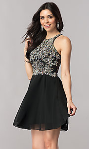 Image of short designer homecoming dress with chiffon skirt. Style: FB-GS2395 Front Image