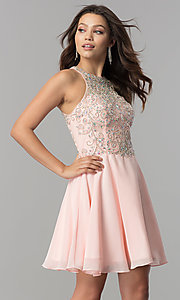 Image of short designer homecoming dress with chiffon skirt. Style: FB-GS2395 Detail Image 2