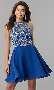 Image of short designer homecoming dress with chiffon skirt. Style: FB-GS2395 Detail Image 3
