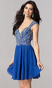 Image of v-neck short homecoming dress with beaded bodice. Style: FB-GS2396 Detail Image 2