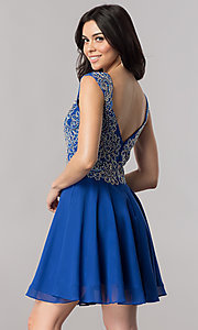 Image of v-neck short homecoming dress with beaded bodice. Style: FB-GS2396 Detail Image 3