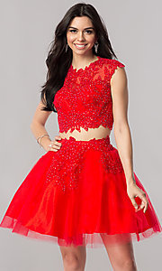 Two-Piece Lace Applique Short Homecoming Dress