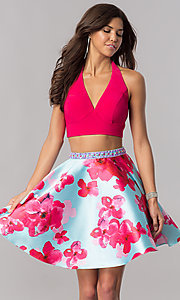 Short Two-Piece V-Neck Halter Pink Homecoming Dress