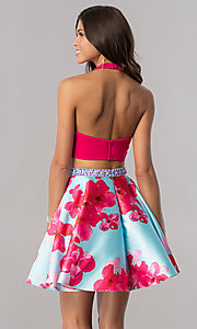 Image of two-piece v-neck halter pink homecoming dress. Style: FB-GS2399 Back Image