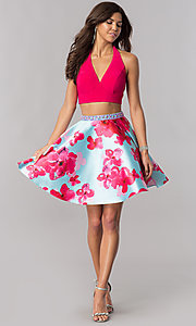Image of two-piece v-neck halter pink homecoming dress. Style: FB-GS2399 Detail Image 1