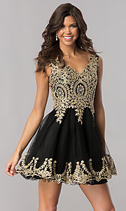 Elizabeth K Lace-Applique V-Neck Homecoming Dress