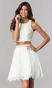 Image of short two-piece homecoming dress with lace skirt. Style: FB-GS2404 Detail Image 1