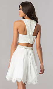 Image of short two-piece homecoming dress with lace skirt. Style: FB-GS2404 Detail Image 3