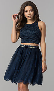 Image of short two-piece homecoming dress with lace skirt. Style: FB-GS2404 Front Image