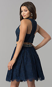 Image of short two-piece homecoming dress with lace skirt. Style: FB-GS2404 Back Image
