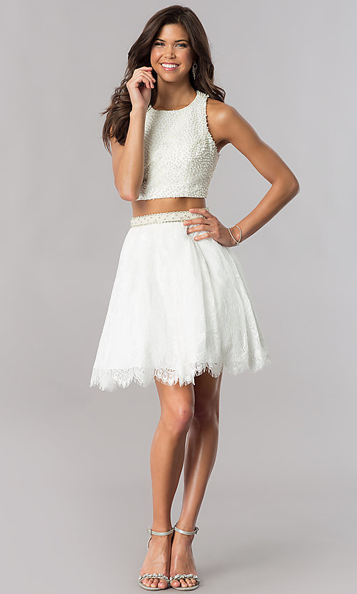 Image of short two-piece homecoming dress with lace skirt. Style: FB-GS2404 Detail Image 2