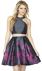 Two-Piece Short Jolene Floral Print Homecoming Dress