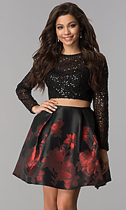 Two-Piece Short Jolene Homecoming Dress with Sequin Sleeves