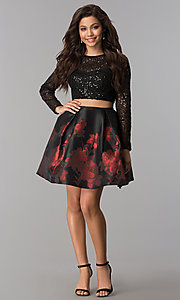 Image of two-piece Jolene homecoming dress with sequin sleeves. Style: JOJ-JE-17516 Detail Image 2