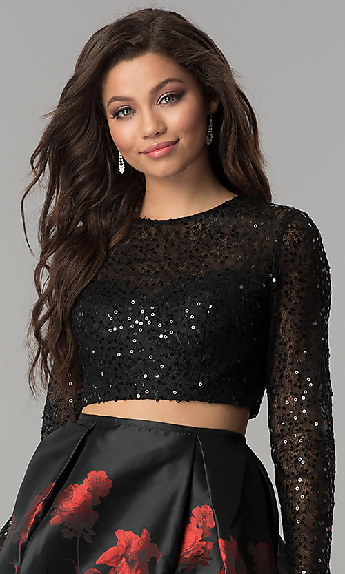 Image of two-piece Jolene homecoming dress with sequin sleeves. Style: JOJ-JE-17516 Detail Image 1