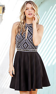 Short Jolene Open Back Homecoming Dress with Keyhole Cut Out
