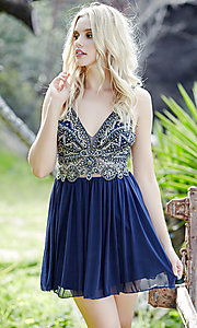 Short Jolene Beaded Bodice Homecoming Dress