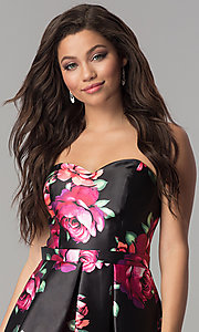 Image of Jolene strapless floral-print sweetheart hoco dress. Style: JOJ-JE-17540 Detail Image 1