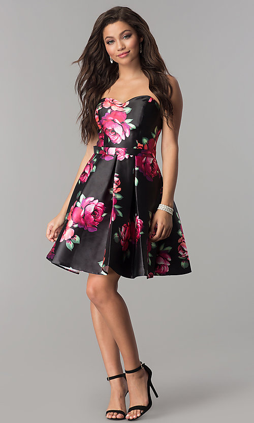 Image of Jolene strapless floral-print sweetheart hoco dress. Style: JOJ-JE-17540 Detail Image 2