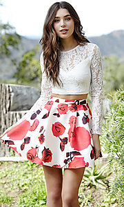 Short Two-Piece Jolene Floral Print Homecoming Dress
