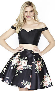 Two-Piece Short Jolene Off-the-Shoulder Printed Homecoming Dress