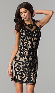 Jolene Short Open-Back Halter Homecoming Dress with Sequins